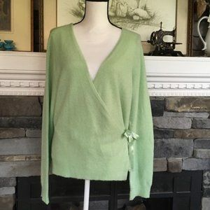 NY&Co ballet wrap sweater, celery green, ribboned
